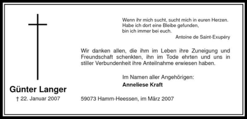 Anzeige von  Günter Langer