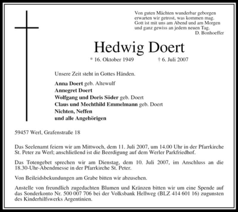 Anzeige von  Hedwig Doert