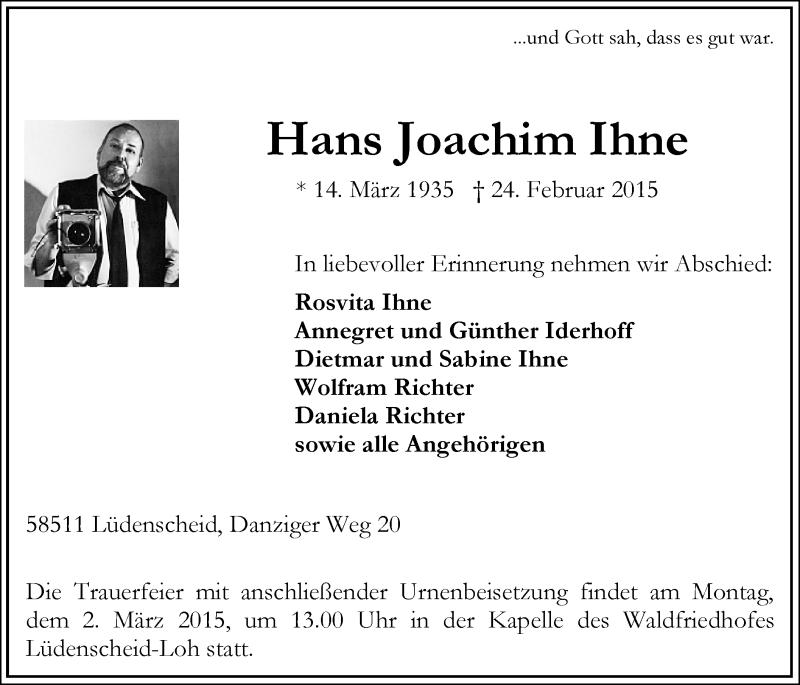 Traueranzeige für Hans Joachim Ihne vom 26.02.2015 aus MZV