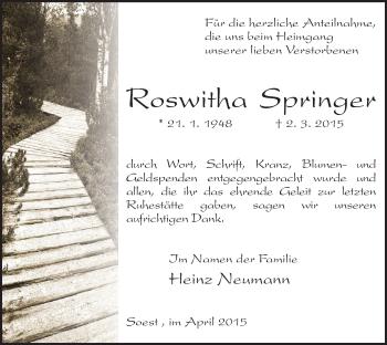Zur Gedenkseite von Roswitha
