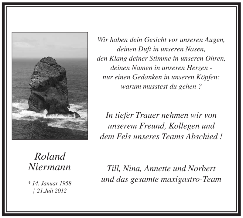 Anzeige von  Roland Niermann