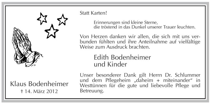 Traueranzeige für Klaus Bodenheimer vom 28.04.2012 aus WESTFÄLISCHER ANZEIGER