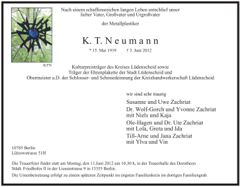 Traueranzeige für K.T. Neumann vom 07.06.2012 aus WESTFÄLISCHER ANZEIGER