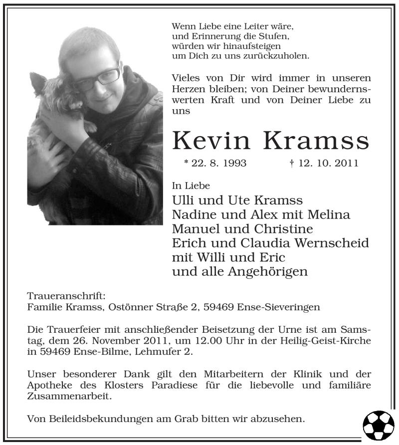 Traueranzeige für Kevin Kramss vom 19.11.2011 aus WESTFÄLISCHER ANZEIGER
