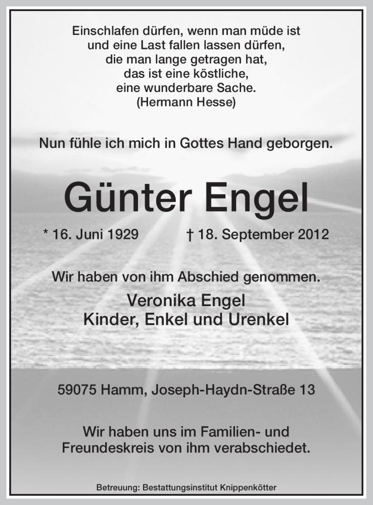 Traueranzeige für Günter Engel vom 22.09.2012 aus MZV