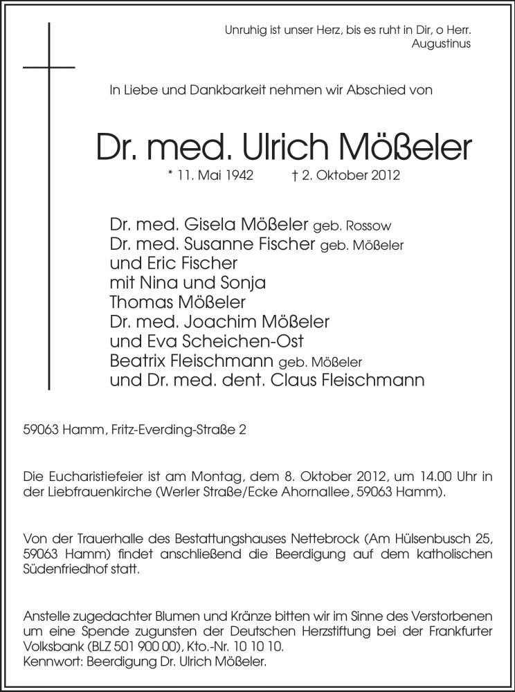 Anzeige von  Ulrich Mößeler
