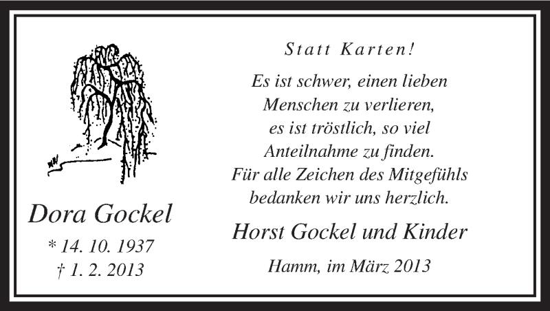 Anzeige von  Dora Gockel