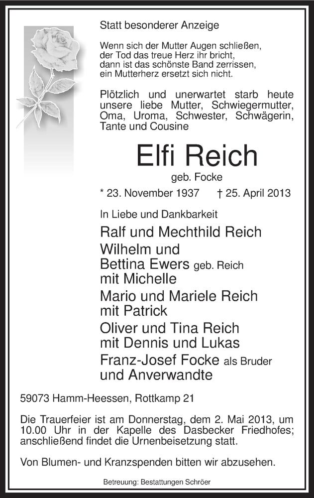 Anzeige von  Elfi Reich