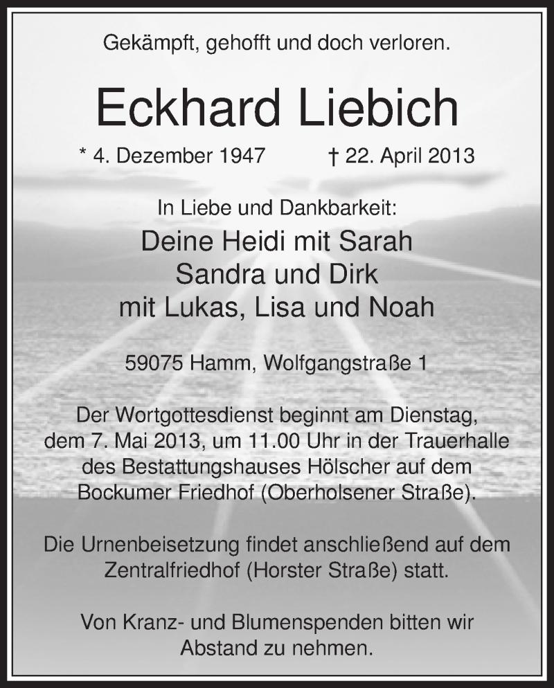 Anzeige von  Eckhard Liebich