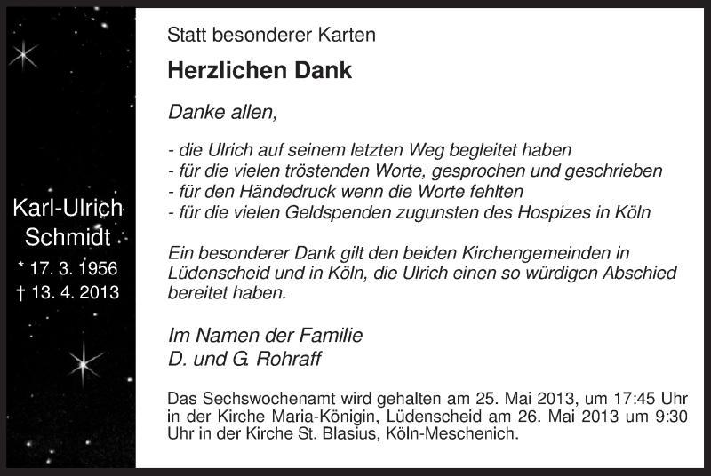 Anzeige von  Karl-Ulrich Schmidt