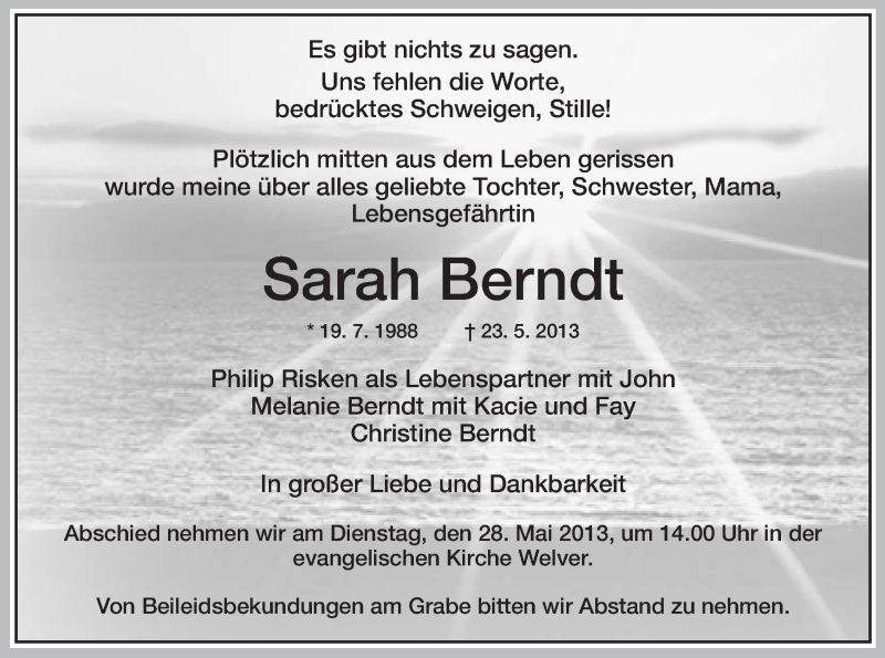Anzeige von  Sarah Berndt