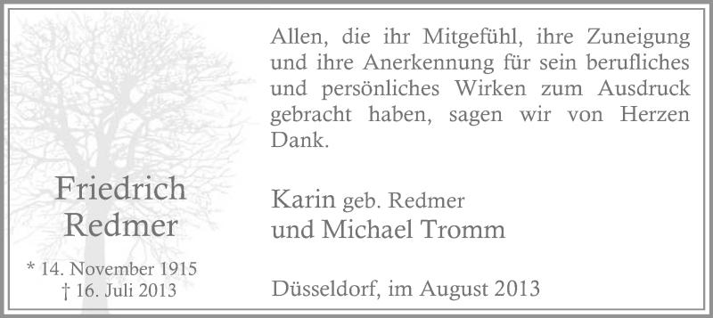 Anzeige von  Friedrich Redmer