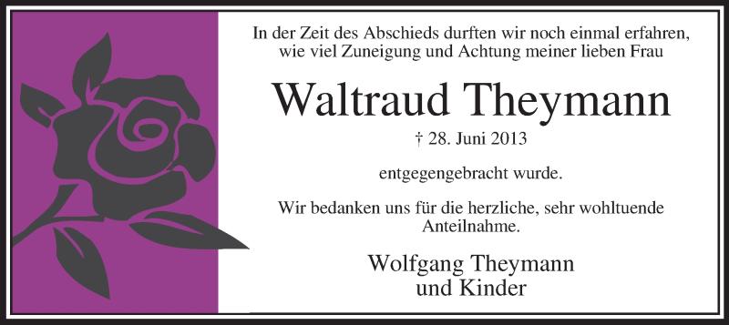 Anzeige von  Waltraud Theymann