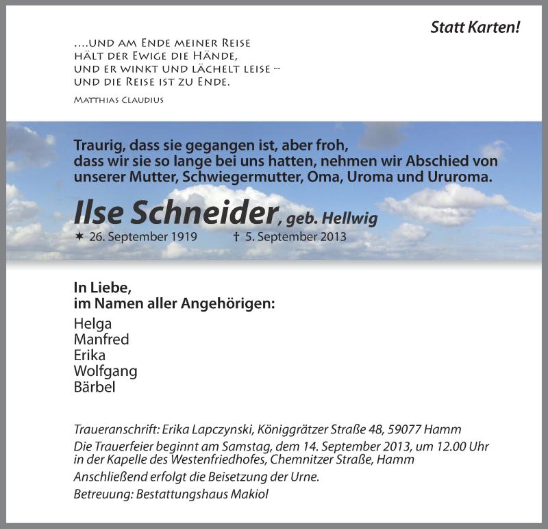 Anzeige von  Ilse Schneider