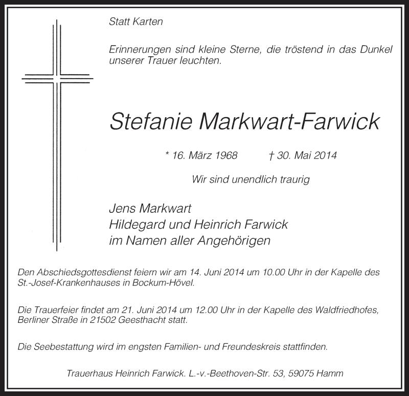 Anzeige von  Stefanie Markwart-Farwick