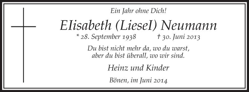 Anzeige von  Elisabeth Neumann