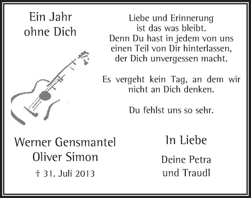 Traueranzeige für Werner Gensmantel vom 31.07.2014 aus MZV