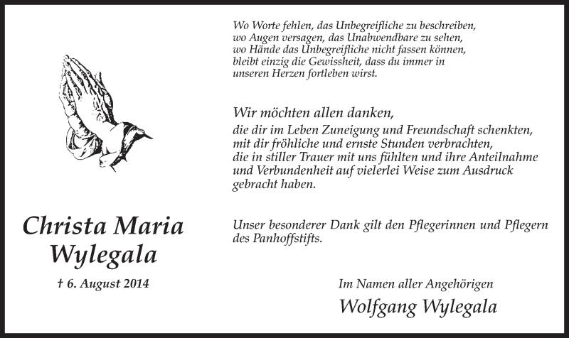Anzeige von  Christa Maria Wylegala
