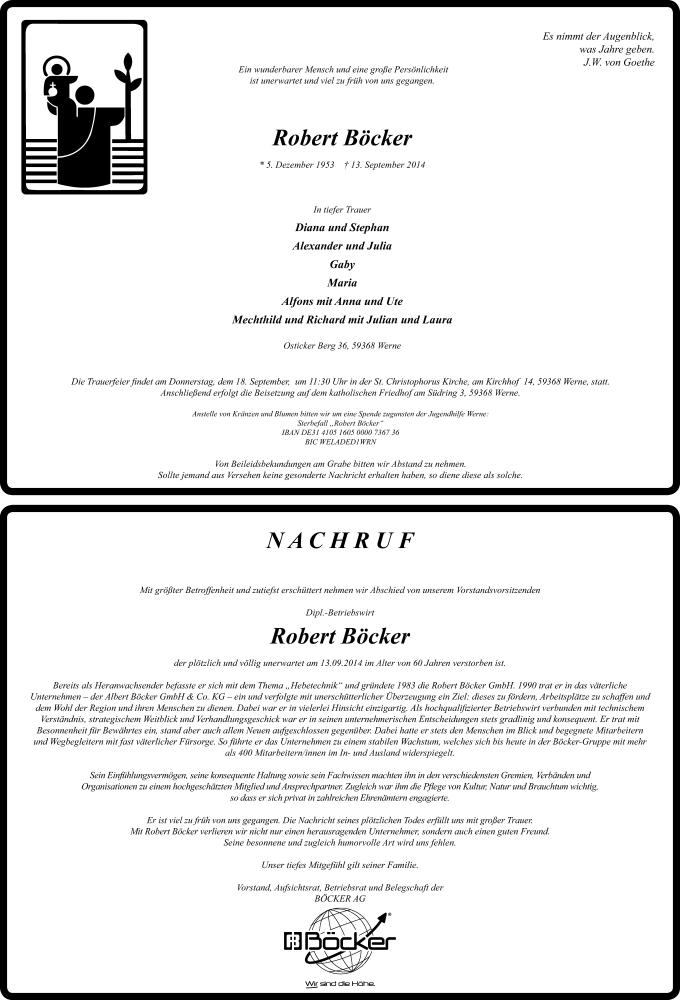 Anzeige von  Robert Böcker