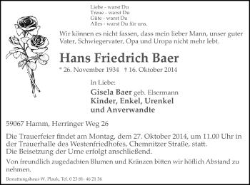 Zur Gedenkseite von Hans Friedrich