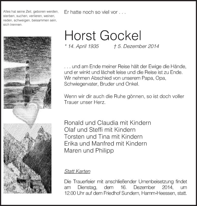 Anzeige von  Horst Gockel