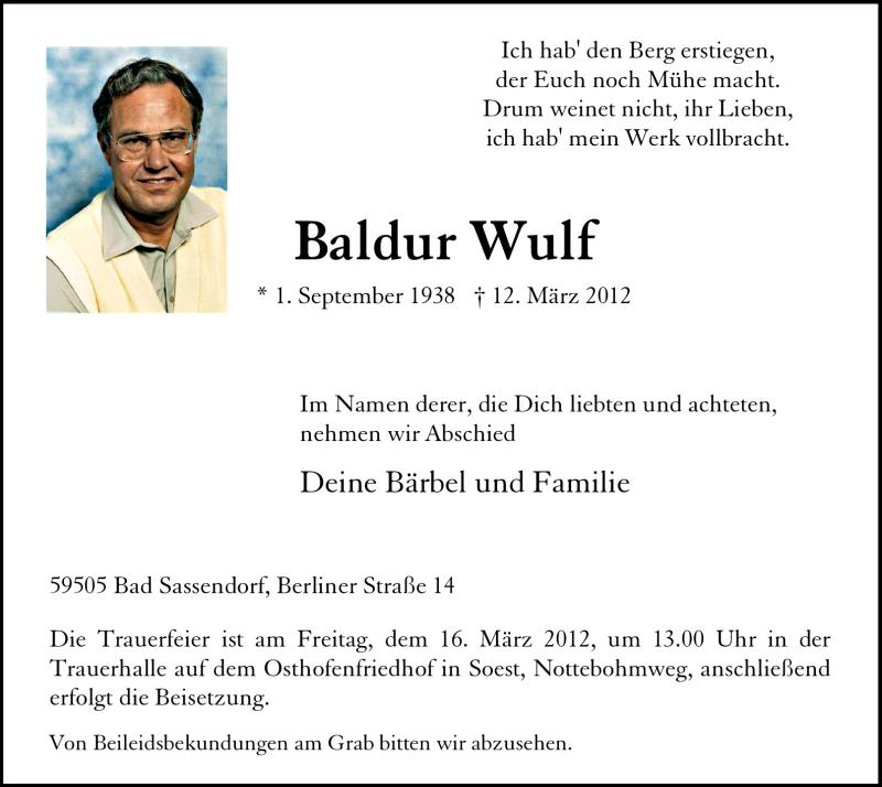 Traueranzeige für Baldur Wulf vom 14.03.2012 aus WESTFÄLISCHER ANZEIGER