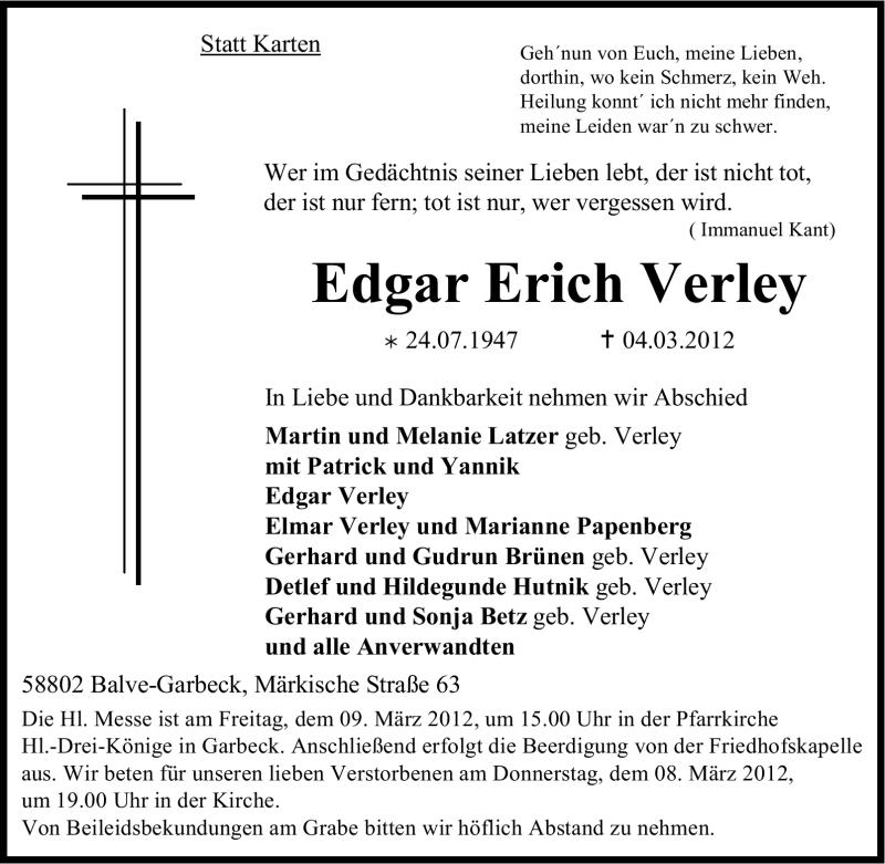 Traueranzeige für Edgar Erich Verley vom 06.03.2012 aus WESTFÄLISCHER ANZEIGER