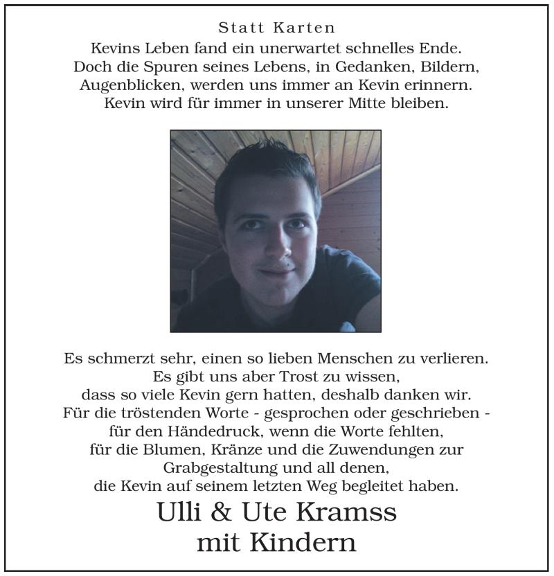Traueranzeige für Kevin Kramss vom 10.12.2011 aus WESTFÄLISCHER ANZEIGER