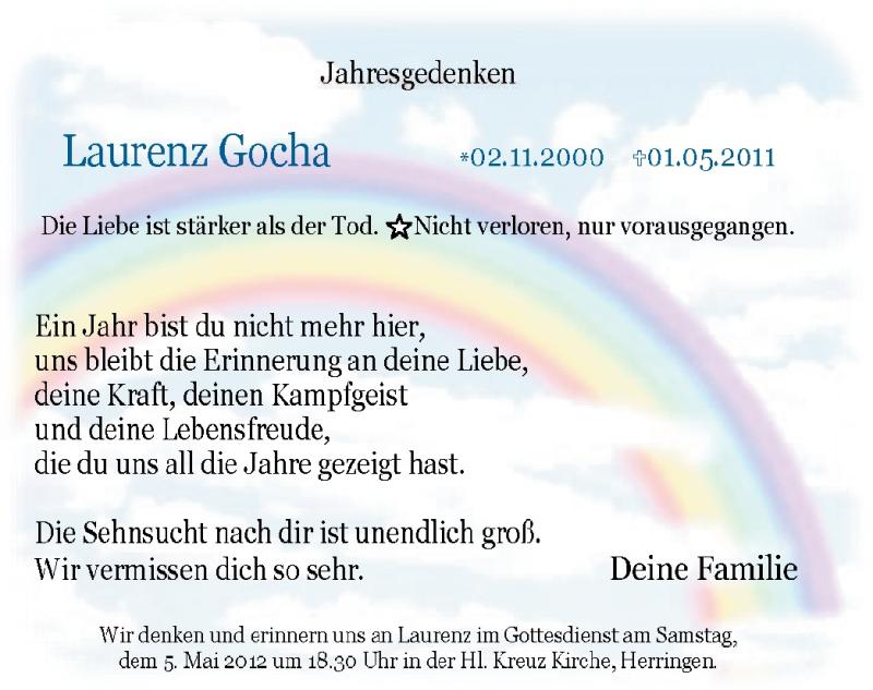 Anzeige von  Laurenz Gocha