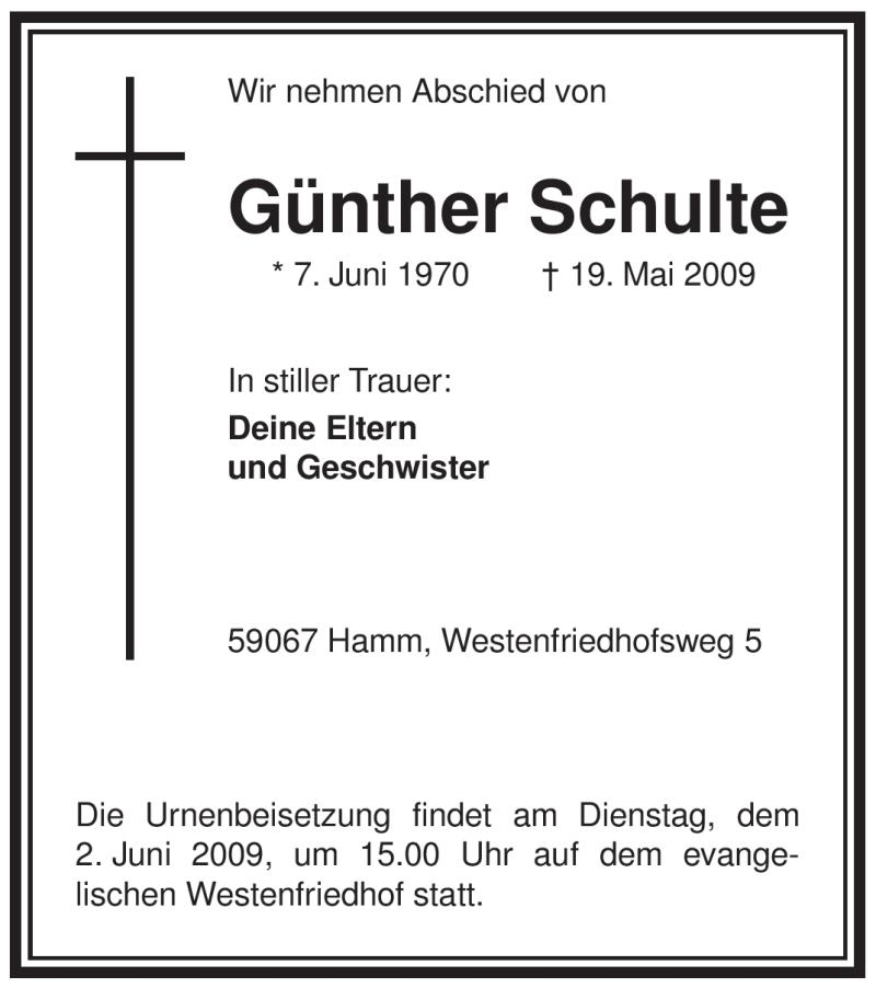 Traueranzeige für Günther Schulte vom 30.05.2009 aus WESTFÄLISCHER ANZEIGER
