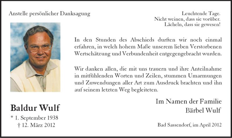 Traueranzeige für Baldur Wulf vom 14.04.2012 aus WESTFÄLISCHER ANZEIGER