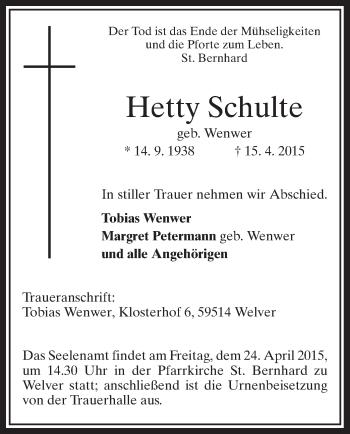 Zur Gedenkseite von Hetty