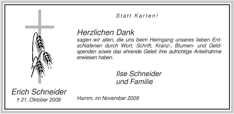 Anzeige von  Erich Schneider