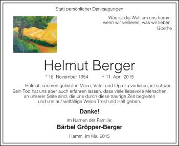 Traueranzeige für Helmut Berger vom 23.05.2015 aus MZV