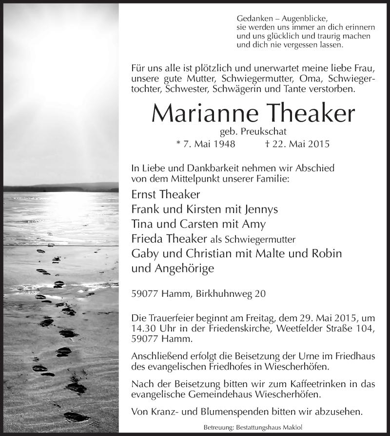 Traueranzeige für Marianne Theaker vom 27.05.2015 aus MZV