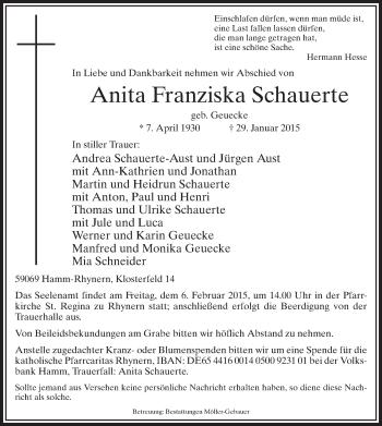 Zur Gedenkseite von Anita Franziska