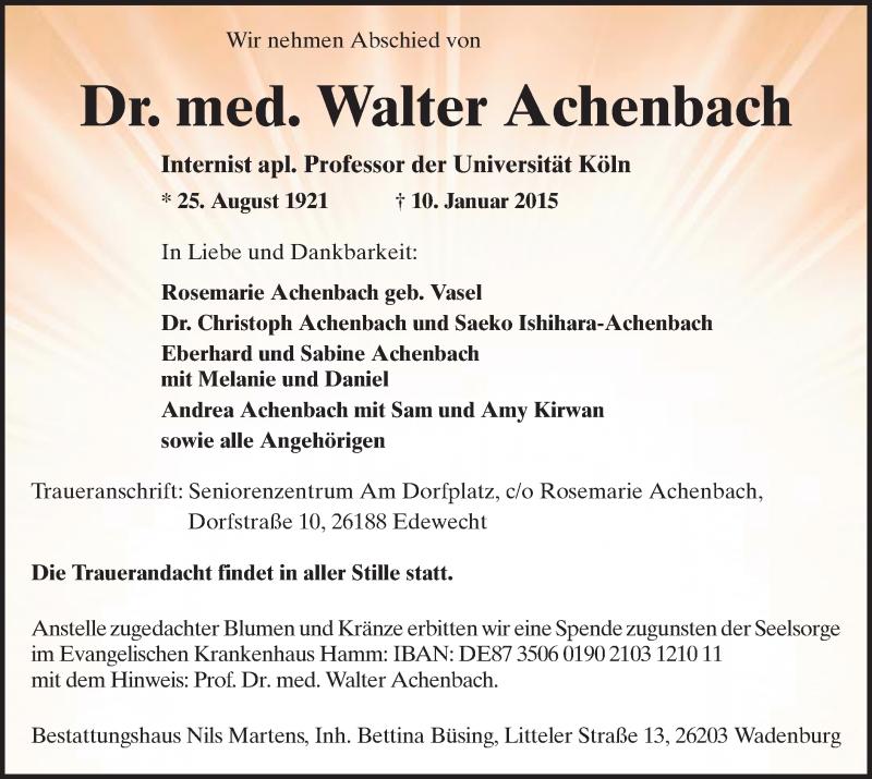 Traueranzeige für Walter Achenbach vom 14.01.2015 aus MZV