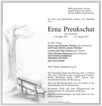Traueranzeige für Erna Preukschat vom 28.01.2011 aus WESTFÄLISCHER ANZEIGER