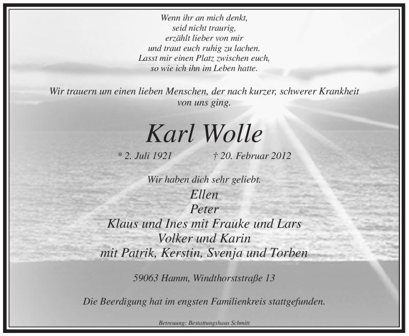 Traueranzeige für Karl Wolle vom 28.02.2012 aus WESTFÄLISCHER ANZEIGER