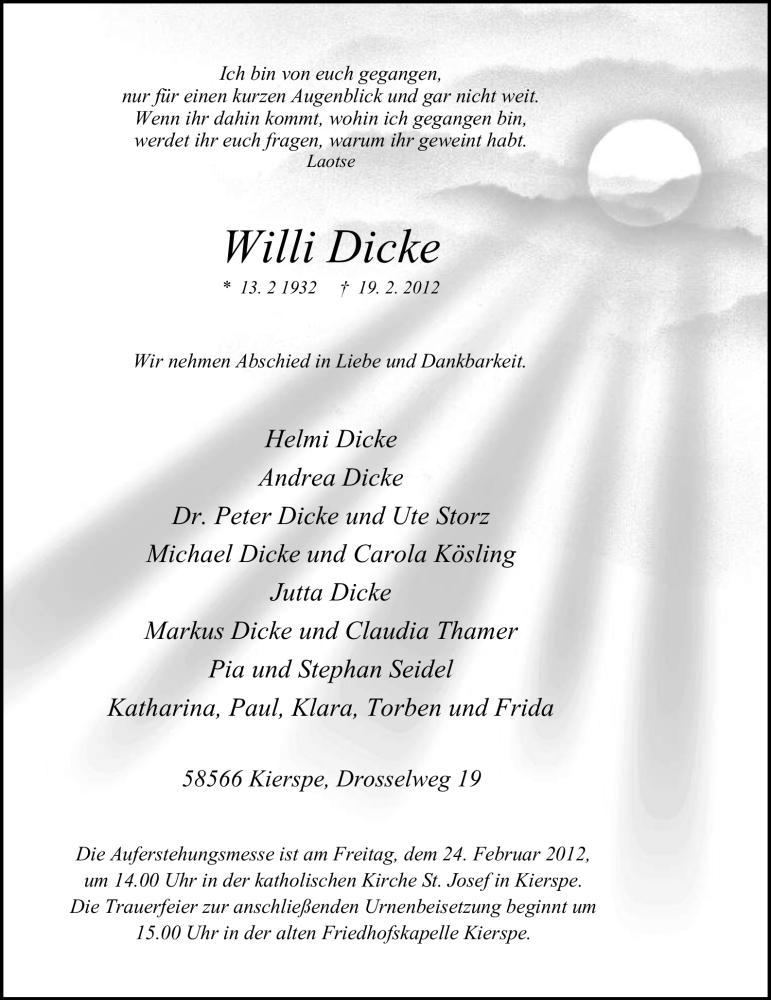 Anzeige von  Willi Dicke