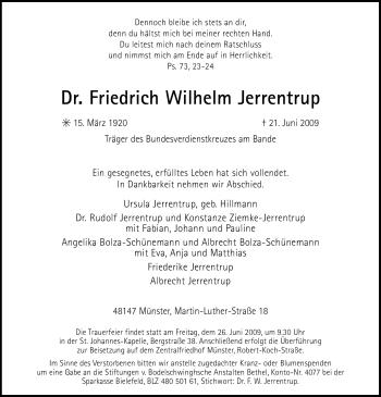 Traueranzeige für Friedrich Wilhelm Jerrentrup vom 24.06.2009 aus WESTFÄLISCHER ANZEIGER