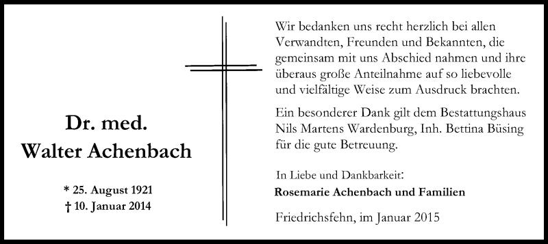 Traueranzeige für Walter Achenbach vom 31.01.2015 aus MZV