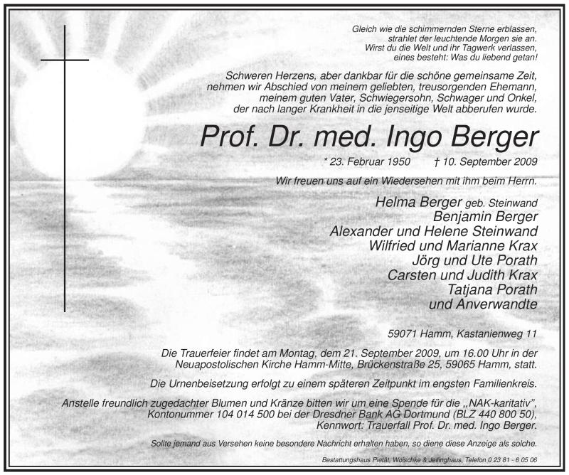 Traueranzeigen Von Ingo Berger Trauernrw