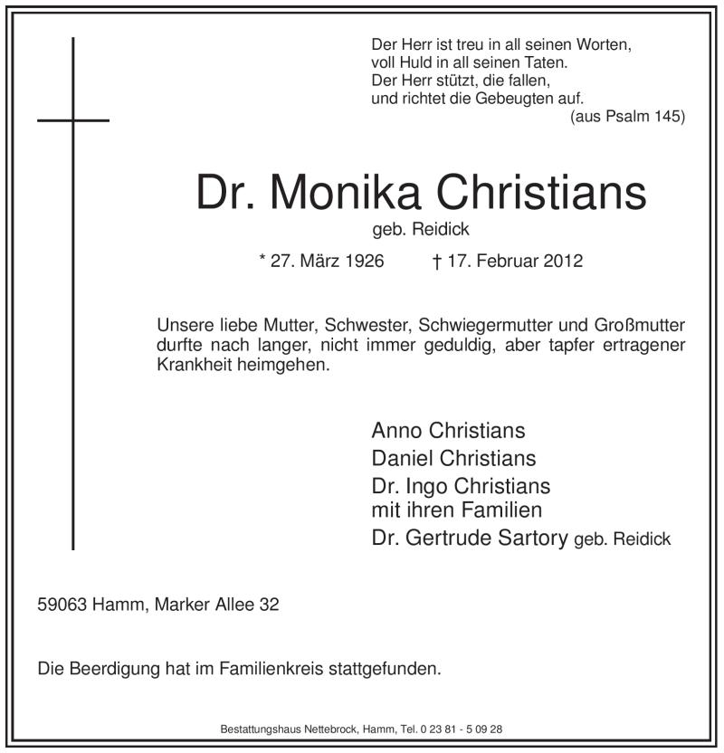 Traueranzeige für Monika Christians vom 25.02.2012 aus WESTFÄLISCHER ANZEIGER