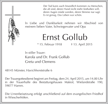 Zur Gedenkseite von Ernst