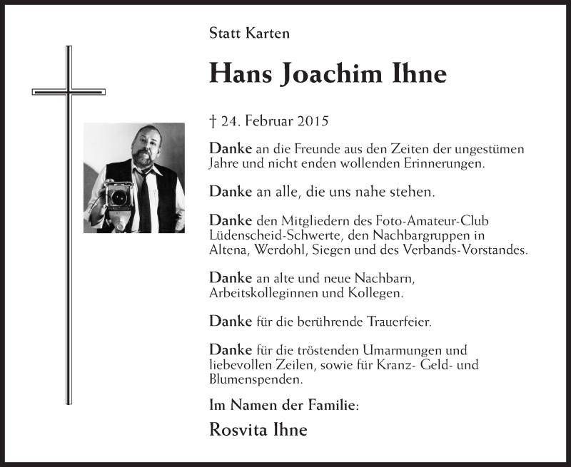 Traueranzeige für Hans Joachim Ihne vom 11.03.2015 aus MZV