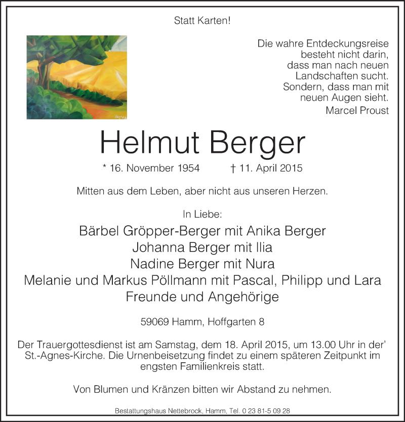 Traueranzeige für Helmut Berger vom 14.04.2015 aus MZV