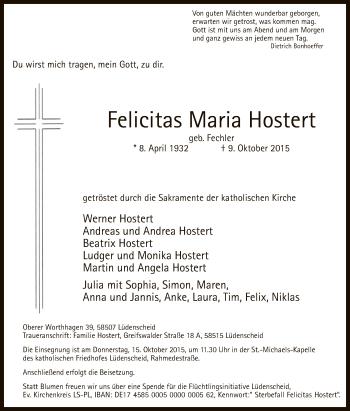 Zur Gedenkseite von Felicitas Maria