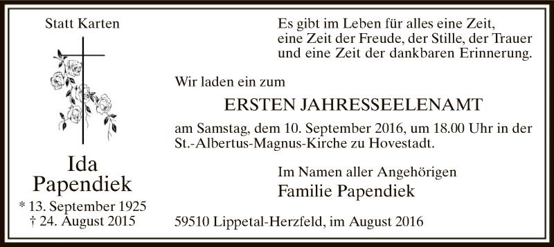 Traueranzeige für Ida Papendick vom 24.08.2016 aus MZV