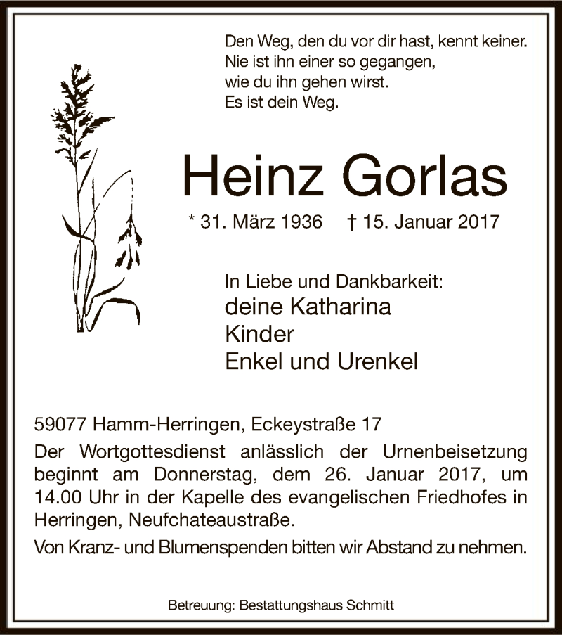 Traueranzeige für Heinz Gorlas vom 21.01.2017 aus MZV